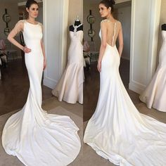 Vintage Silk Satin Sheath Wedding Gowns Mermaid Dress 2016 Scoop Neckline Beads Straps Bridal Gowns Sheer Back Wedding Dresses Online with $161.25/Piece on Beautydoor's Store | DHgate.com