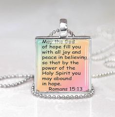 Bible Scripture Glass Tile Pendant by DesignsofFaithandJoy on Etsy