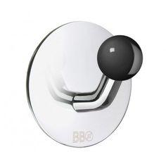 Smedbo Design Haken Edelstahl poliert Knopf schwarz BK1084
