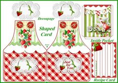 images of strawberry aprons   Strawberry Apron Shaped Greeting Card with Inside Pocket Digital ...