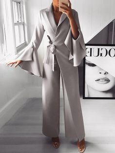 Irregular Flared Sleeve Knot Side Wide Leg Jumpsuit fashion dresses pictures summer outfits style dress for girl,work dresses outfit ideas,party dresses Trend Fashion, Modern Fashion, Look Fashion, Womens Fashion, Ladies Fashion, 50 Fashion, Fashion 2018, Cheap Fashion, Spring Fashion