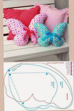 ARTE COM QUIANE - Paps,Moldes,E.V.A,Feltro,Costuras,Fofuchas 3D: almofada borboleta delicada Molde