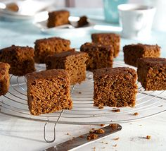 This dark and sticky ginger cake is made healthier with naturally sweet dates, buttermilk and plenty of cinnamon and fresh ginger