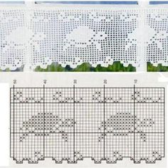 Crochet Curtain Patterns - Beautiful Crochet Patterns and Knitting Patterns Filet Crochet Charts, Crochet Borders, Knitting Charts, Crochet Motif, Crochet Doilies, Crochet Stitches, Free Crochet, Knitting Patterns, Crochet Patterns