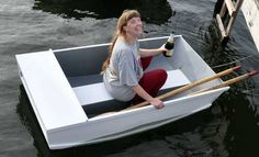 Happy day: Launching the dinghy I built.
