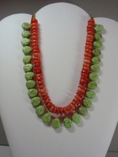 Orange Bamboo Coral and Green Magnesite.   Moon Eyes Design