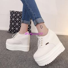 Women Fashion Sneaker Sequins Wedge heel Lace Up Ankle Boots High Top Shoes @T5