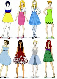 Modern Day Disney-Wear. I think they're in this order: Snow White, Aurora, Alice, Tinkerbell, Wendy, Lilo, Cinderella and Ariel.