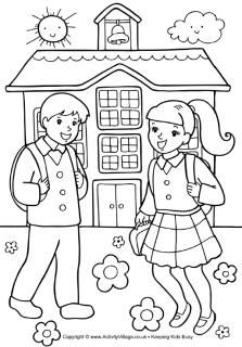 School children colouring page