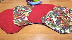 Set Of 4 Fruit Placemats, Red Reversible Placemats, Padded Placemat, Fabric Place  Mat