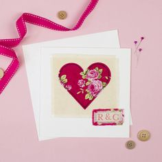 Personalised Embroidered Heart Card