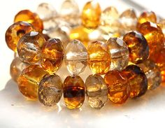 Czech glass beads Amber topaz  - golden yellow spacers, beads mix - 4x7mm - 25 Pc - 0208