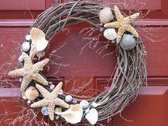 Summertime Front Door - Shell wreath Seashell Wreath by OceanStInspiration on Etsy, $36.00