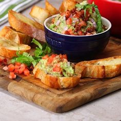 This yummy meal is a bruschetta-guacamole fiesta!