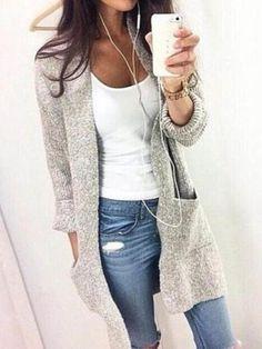 Grau Langarm Damen Strickjacke Mit Tasche