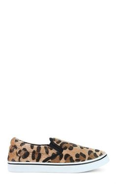 Deb Shops Faux Pony Hair Leopard Print Slip On Shoe $9.79