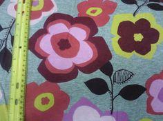Import. Grey Modern Flowers on Knit Fabric
