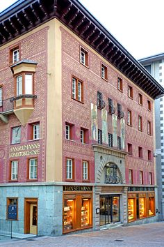 """Hanslmanns Konditorei Cafe"" is St Moritz's celebrated bakery n tea room in Sankt Moritz-Dorf, Canton of Graubunden_ Switzerland"