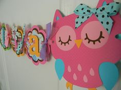 Owl Birthday Party Name Banner  in Bright Colors. $20.00, via Etsy.