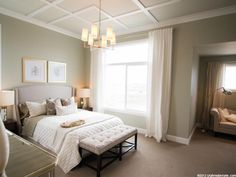 beautiful neutral bedroom and ceiling treatment