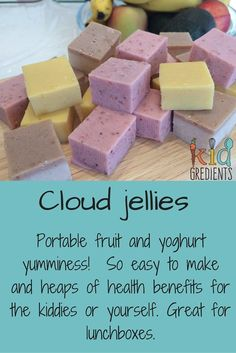 Jellies Cloud Jellies- a lunchbox recipe that's good for you! Yummy fruit and yoghurt goodness!Cloud Jellies- a lunchbox recipe that's good for you! Yummy fruit and yoghurt goodness! Lunch Box Recipes, Baby Food Recipes, Snack Recipes, Lunch Snacks, Healthy Lunchbox Snacks, Thermomix Recipes Healthy, Kefir Recipes, Detox Recipes, Salad Recipes