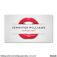 Makeup artist cool red lips gray texture modern Double-Sided standard business cards (Pack of 100) Más Más