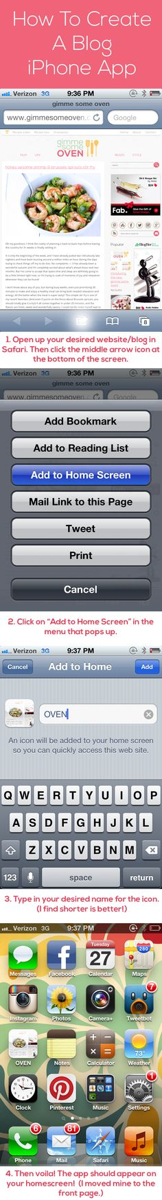 This is so fun!!   How To Create A Blog iPhone App | gimmesomeoven.com