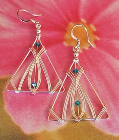 Triangular earrings made with silverplated by MysticMetalDesigns, $45.00