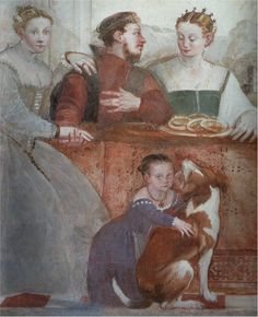 "Venetian Province of Vicenza, Republic of Venice     Giovanni Antonio Fasolo, c1565: ""The Banquet"" (Fresco detail)    Vicenza, Villa Caldogno    The embroidery under the front opening of the left lady, and the little girl. Ohr linke Frau / Johannesknabe"