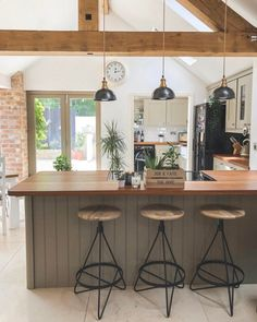 Open plan kitchen in barn conversion. Staffordshire, UK : AmateurRoomPorn Open plan kitchen in barn conversion. Barn Conversion Kitchen, Barn Conversion Interiors, Barn Conversions, Small House Renovation, Barn Renovation, House Renovations, Layout Design, Accent Wall In Kitchen, Brick In The Kitchen