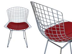 Bertoia chair in chromed metal. Structure of the chair with welded rods in chromed metal and padded cushion in printed calfskin for the seat. Cheap Dining Room Chairs, Small Living Room Chairs, Recycled Plastic Adirondack Chairs, Floor Protectors For Chairs, Metal Chairs, Modern Chairs, Chrome, Cushions, Wood