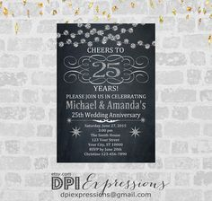 Silver Wedding Anniversary Invitation Printable by DPIexpressions