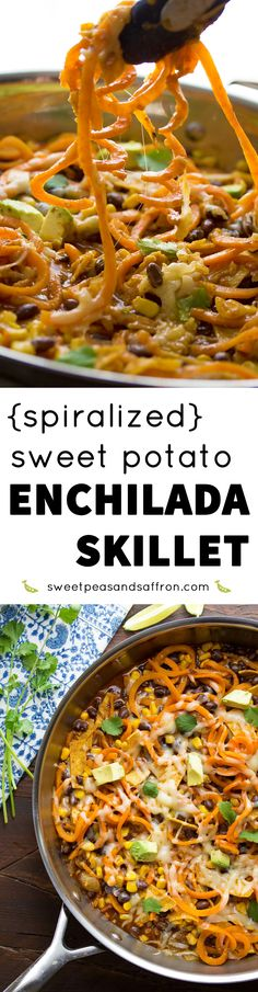 Spiralized sweet potatoes are cooked up with corn, black beans, tortillas and enchilada sauce in this quick enchilada short cut meal!