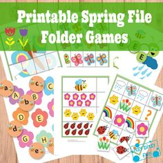 "Spring File Folder Games (Free) Your kids will be learning letters (both upper and lower case), they will work on their counting, color recognition, figuring out the patterns in ""what comes next"" games and recognize shapes as they put together puzzles. They'll also be able to put together simple 3 and 4 lettered words - all that with a dash of spring."