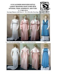 LM130 - 1798-1813 Ladies' Regency Wrapping Front Trained or Untrained Gown, Redingote, and Tunic Pattern