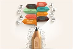 Buy Education Pencil Arrow Infographics Template by graphixmania on GraphicRiver. Education pencil and bubble speech arrow infographic template. Can be used for workflow layout, banner, diagram, web . Free Infographic Templates, School Of Engineering, Business Illustration, Banner Template, Crayon, Presentation Design, Web Design, Layout Design, Bubbles