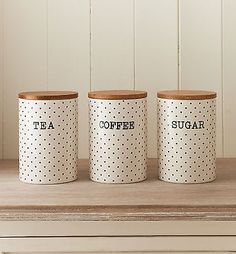 SET OF 3 CERAMIC TEA COFFEE SUGAR CANISTERS BAMBOO LID DOT CERAM STORAGE JARS Tea And Coffee Canisters, Tea Coffee Sugar Canisters, Coffee Jars, Jar Storage, Craft Storage, Kitchen Jars, Kitchen Decor, Pottery Painting Designs, Kitchen Organisation
