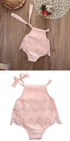 Newborn Baby Girl Infant Romper Jumpsuit Bodysuit Tutu Lace Dress Clothes Outfit (12-18 Months, Pink)