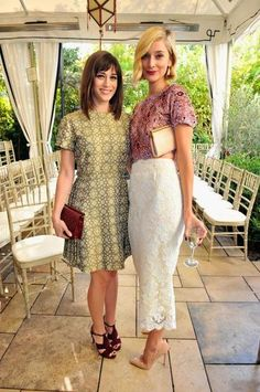 Lizzy Caplan and Caitlin FitzGerald attend the 2013 CFDA/Vogue Fashion Fund Event at the Chateau Marmont in Los Angeles.