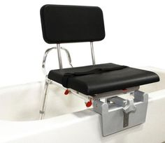 Snap-N-Save Tub Mount Sliding Transfer Bench with Padded Swivel Seat