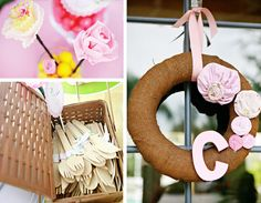cute wreath with initial! I'm all about decor that can serve somewhere else after the party is cleaned up!