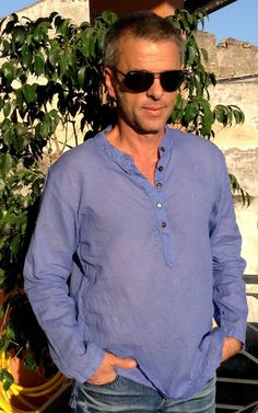 Amazing Handmade Man Shirt Lilac Color Long Sleeve All Cotton MISS SUMMER Koh Lipe Camicia Tunica Uomo Manica Lunga Cotone Viola Taglia M  L di BeHappieWorld su Etsy