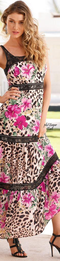 Animal print & floral summer maxi  dress
