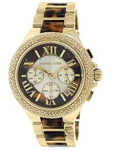 This beautiful #Michael Kors MK5901 womens analog quartz chronograph watch features a tortoise dial, a glitzed bezel, and a two-tone band.