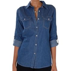Humble Chic NY Chambray Boyfriend Shirt (82 SGD) ❤ liked on Polyvore featuring dark blue