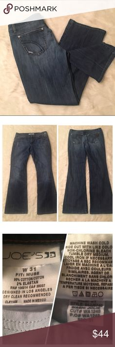 """Joe's Jeans Muse Fit Lightly Distressed Jeans Beautiful pair of muse style Bootcut jeans in the Jolie wash. Stock pictures accurate from Nordstrom. """"A higher waist begins medium-wash stretch jeans subtly detailed with fading and distressing for a slightly worn-in effect. Creasing down the front and back elongates the boot-cut style and textured tonal embroidery details the back pockets."""" Great condition with light wear on the hems. 30.5 inch inseam, 10 inch rise and 17 inch waist. Bundles…"""