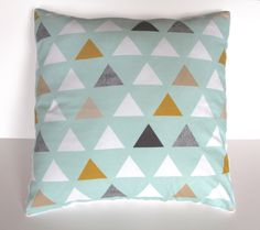 Mint gray triangle pillow cover - minky baby nursery pillow - geometric grey taupe mustard - gender neutral - modern boy - baby shower gift