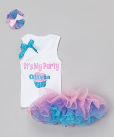 Another great find on #zulily! Purple & Teal Personalized Tutu Set - Infant, Toddler & Girls by Beary Basics #zulilyfinds