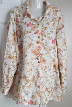 Elisabeth by Liz Claiborne Size 18 Multi-color Floral Corduroy Shirt/Blouse #LizClaiborne #Blouse #Casual