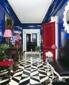 Bold & Glamorous Entryway | Photo Gallery: Lacquered Walls | House & Home | Photo by Miguel Flores-Vianna
